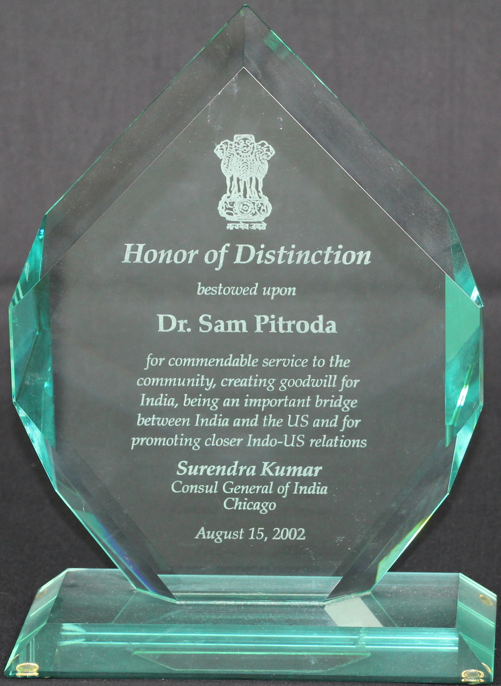Honor of Distinction, from Surendra Kumar, Consul General of India, Chicago, 2002