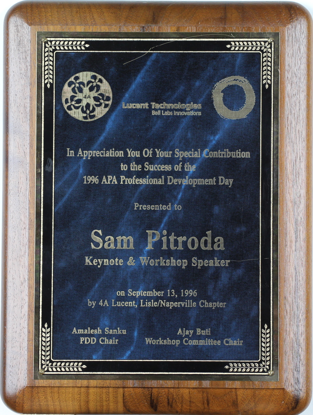 Keynote and Workshop Speaker Appreciation Award, APA Professional Development Day, Lucent Technologies, 1996