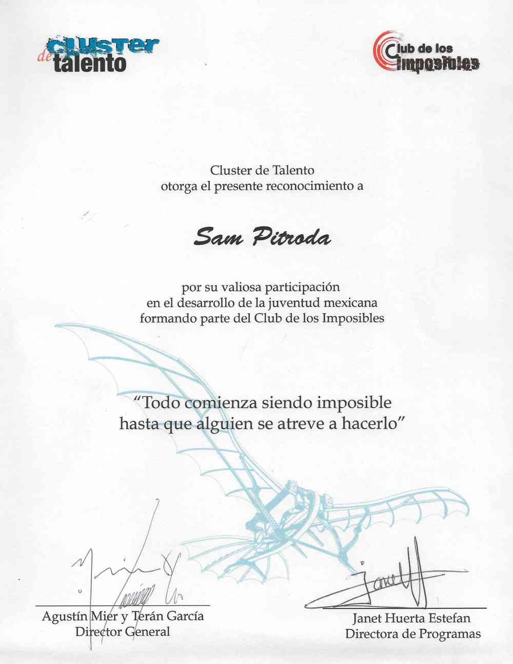 "Award of Appreciation for Participation in the Inauguration of ""Club of the Impossibles,"" Talent Cluster"