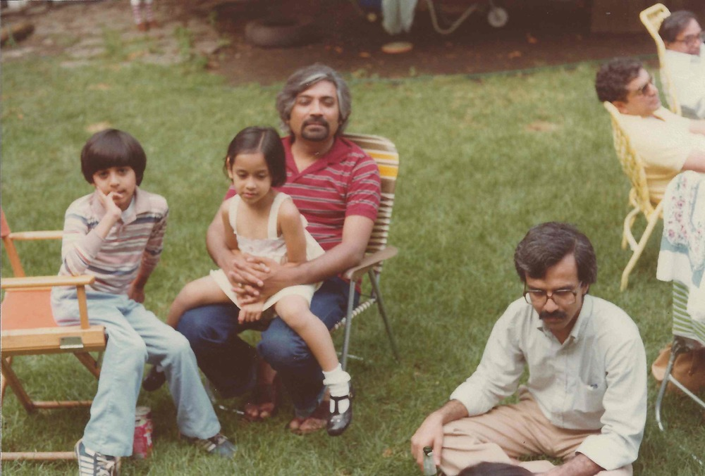Sam, Salil, Rajal, and friend Rajiv Desai at Downer's Grove home