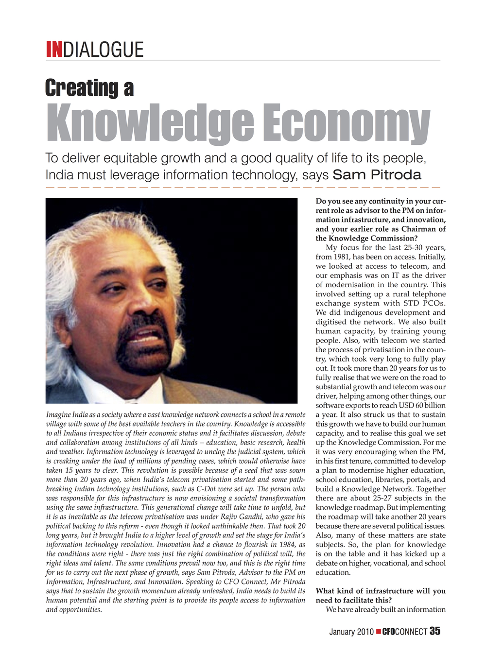 """Creating a Knowledge Economy,"" CFO Connect, 2010"