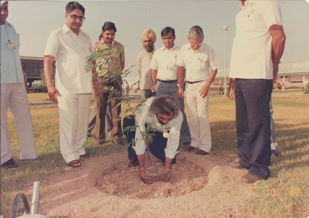 Sam planting a tree in Chandigarh