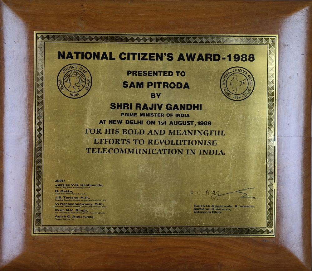 National Citizen's Award presented by Shri Rajiv Gandhi, 1988
