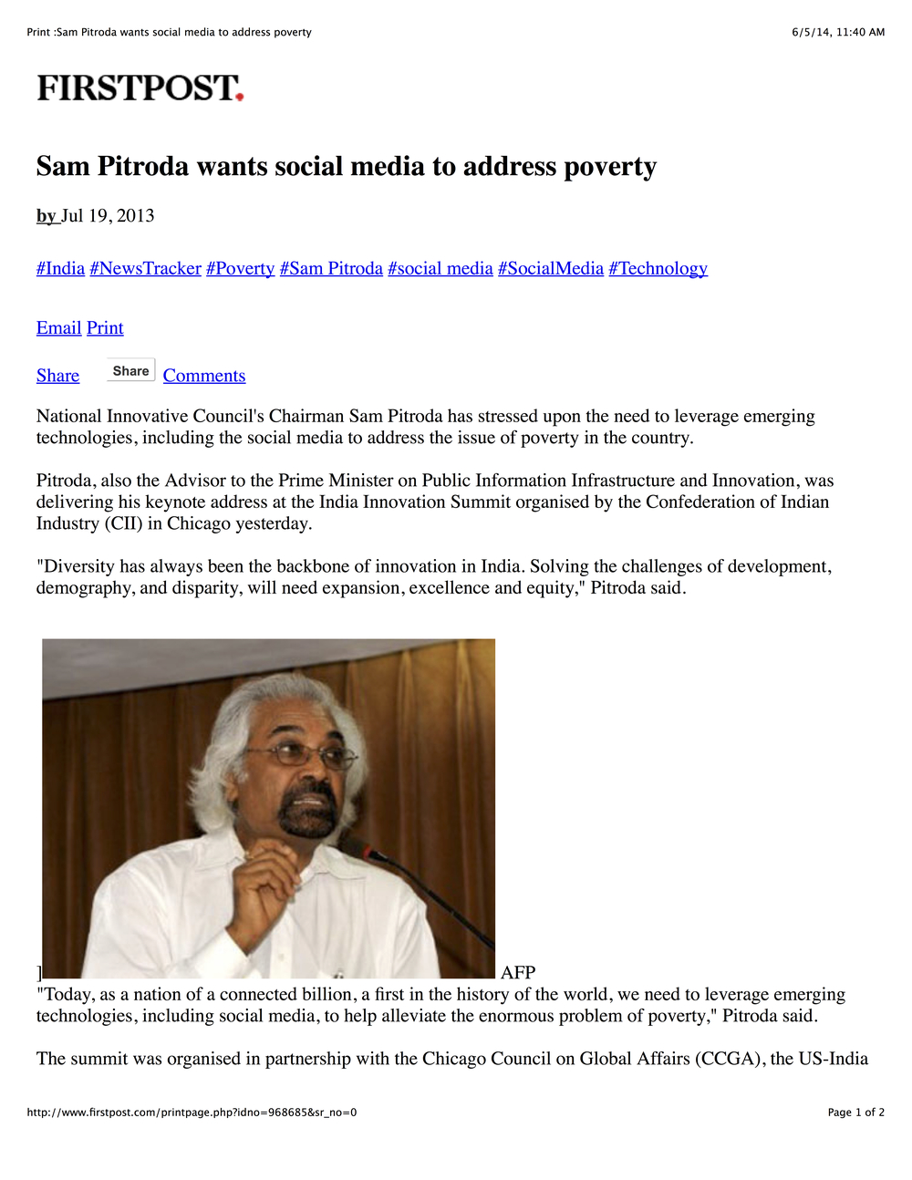 """Sam Pitroda Wants Social Media to Address Poverty,"" FirstPost, 2013"