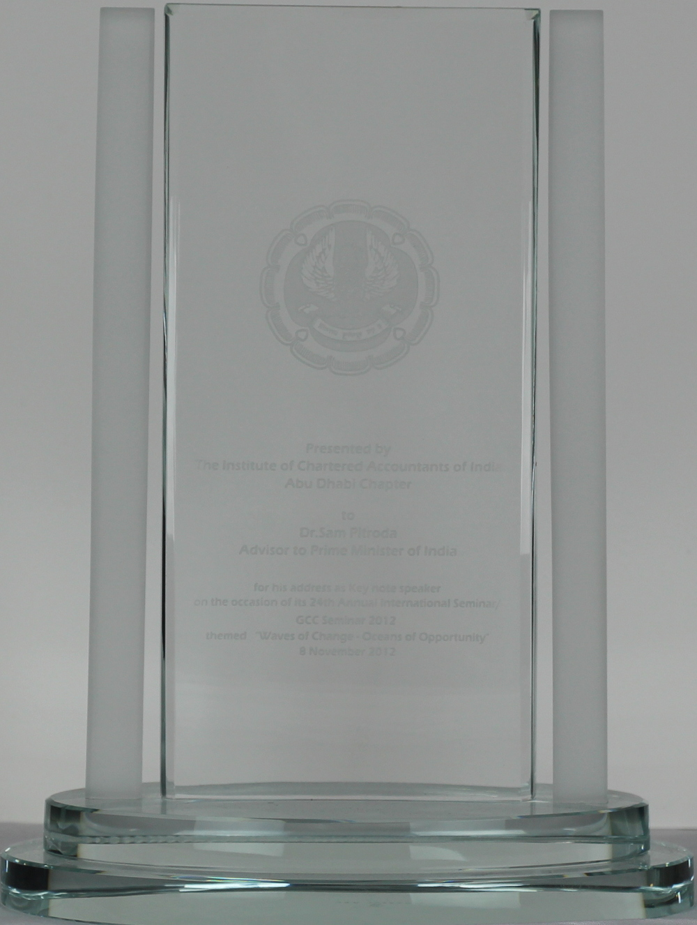 Keynote Speaker Award, Chartered Accountants of India, Abu Dhabi Chapter, 2012