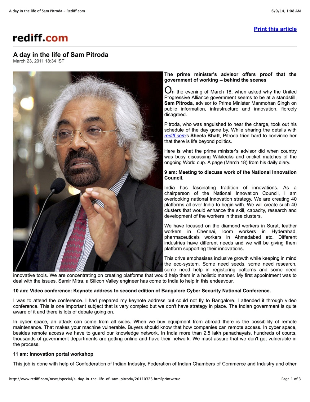 """A Day in the Life of Sam Pitroda,"" Rediff.com, 2011"