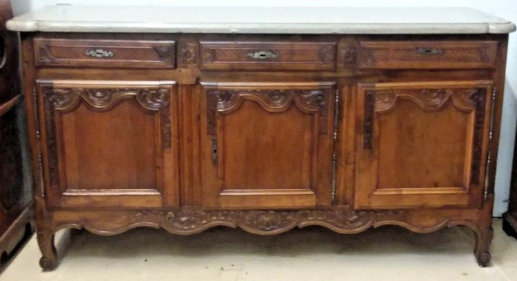 Antique Attic Imports - Antique French Louis XV Walnut Carved Sideboard Buffet Cabinet