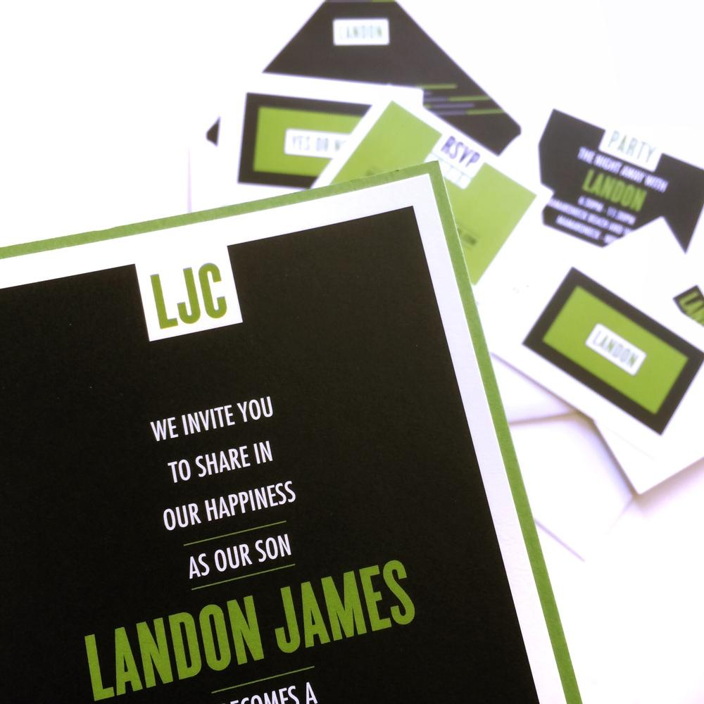 landon green and black layered mitzvah invitation