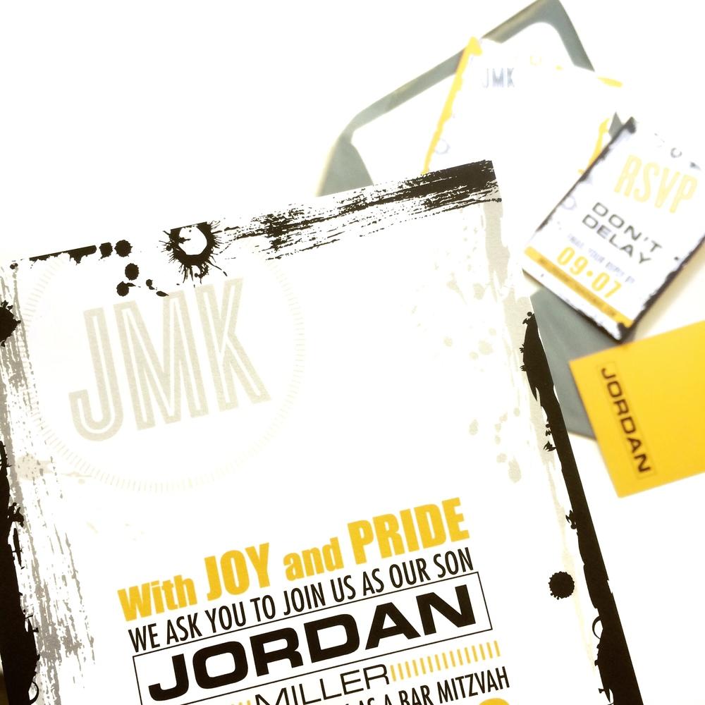 yellow and black mitzvah invitation
