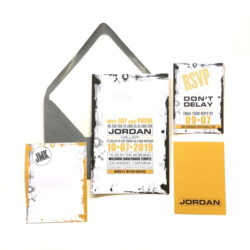 jordan layered mitzvah invitation suite