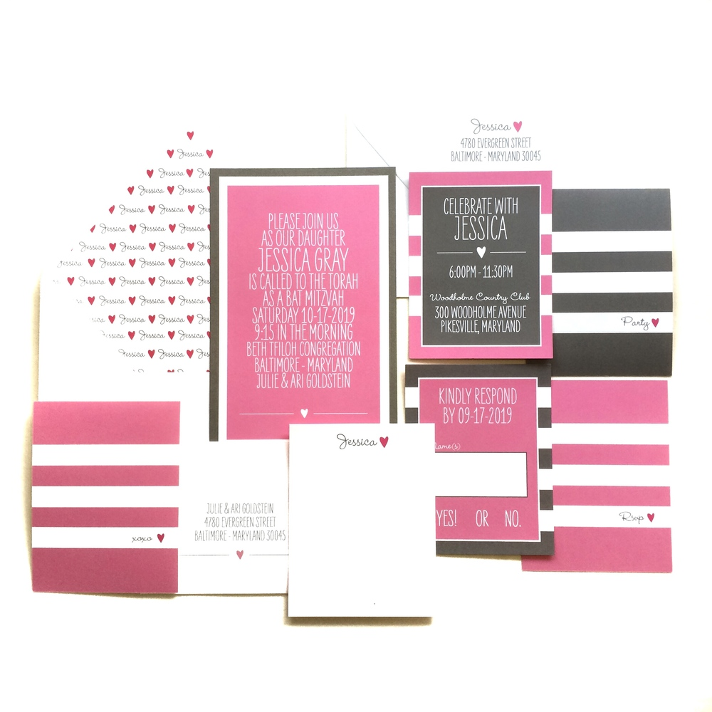 jessica - pink and grey mitzvah invitation suite - btelements