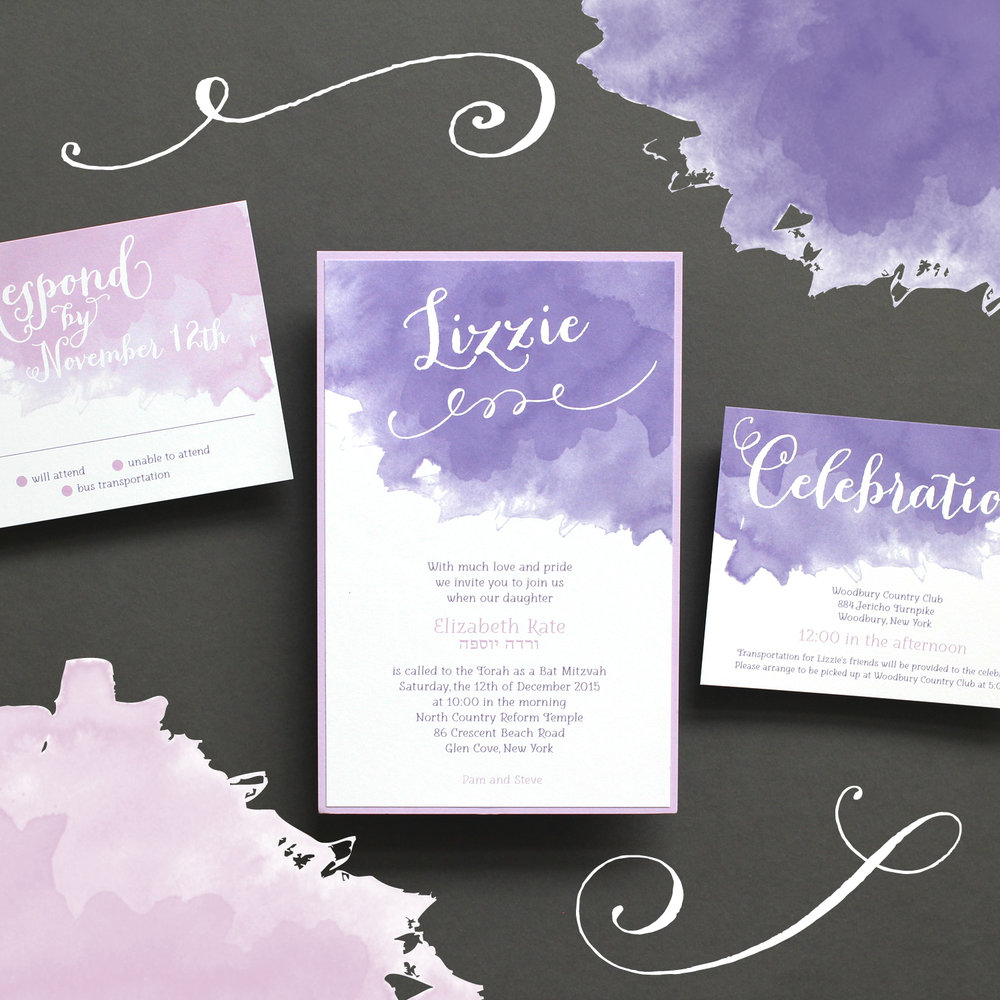 Lizzie's Bat Mitzvah Invitation, 2015   Store: Ethan Niles in Old Westbury, NY