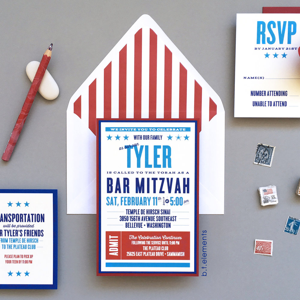 Tyler's Bar Mitzvah Invitation, 2016   Store: You Name It in Bellevue, WA