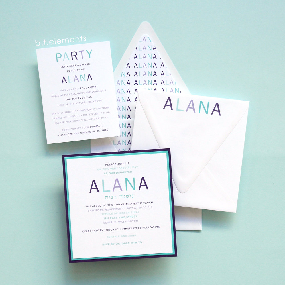 Alana's Bat Mitzvah Invitation, 2017   Store: You Name It in Seattle, WA