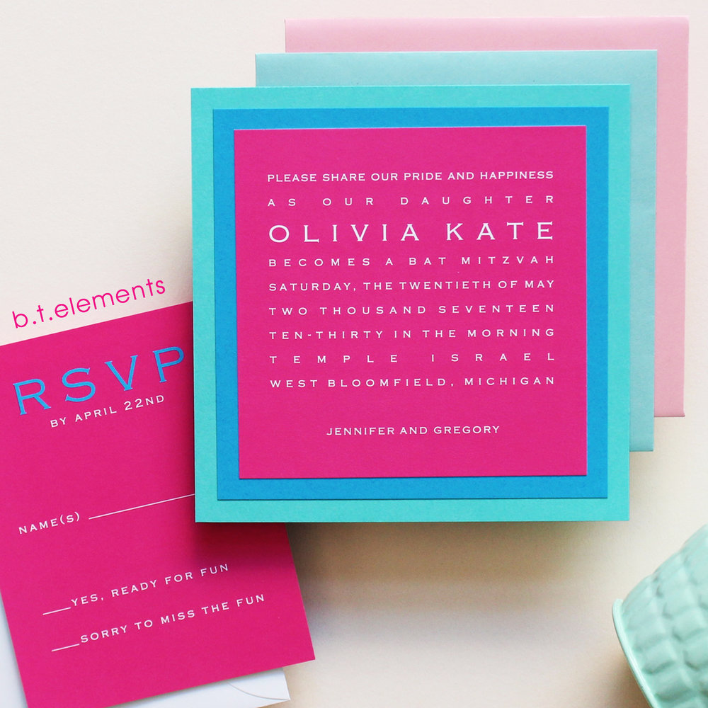 Olivia's Bat Mitzvah Invitation, 2017   Store: Lee's Specialty in Bloomfield Hills, MI