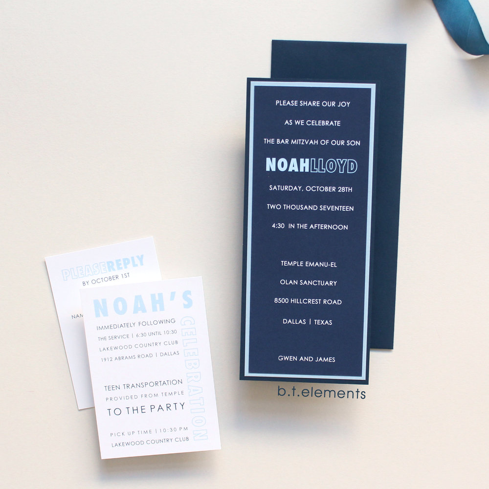 Noah's Bar Mitzvah Invitation, 2017 Store : The Write Invite in Dallas, TX