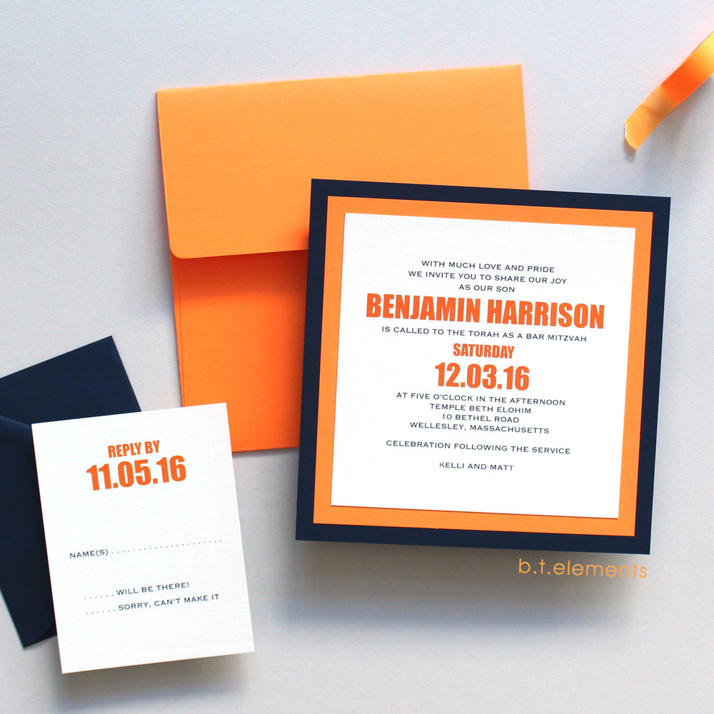 Benjamin's Bar Mitzvah Invitation, 2016   Store: Mark Harris Stationers in Newton, MA
