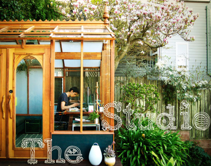 This green house was repurposed as a studio by Vendrolini as seen on www.Houzz.com/outdoor-office