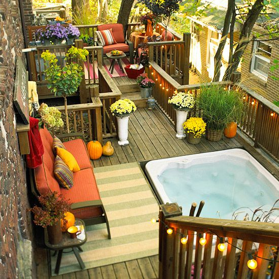 Privacy is an important element to take into account because depending on where you live or the layout of your backyard you may want more or less privacy.   It is also important that your new hot tub is placed on a solid foundation.  This is very important for both safety purposes and the lifetime of the hot tub.  Image as seen on bhg.com