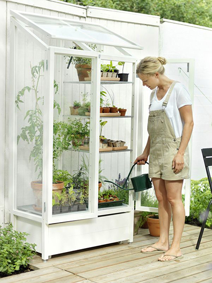 Making use of your own green house ensures that your plants are safe year round from intense weather conditions.  A personal garden area can also be put to great use if you don't have a backyard large enough to plant your own garden.