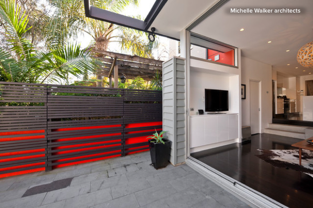 The look and feel of this architectural design really freshens up the living space and makes for a more interesting backyard room.  Image as seen on houzz.com courtesy of Michelle Walker architects.