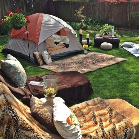 Camping in your backyard room adds a fun element to a normal night.  Sleeping under the stars during the warmer months can make for a romantic or exciting way to end summer with a bang.  Don't forget to add smores' to your list of activities to try while your camping in your backyard room!  Photos found on buzzfeed.com