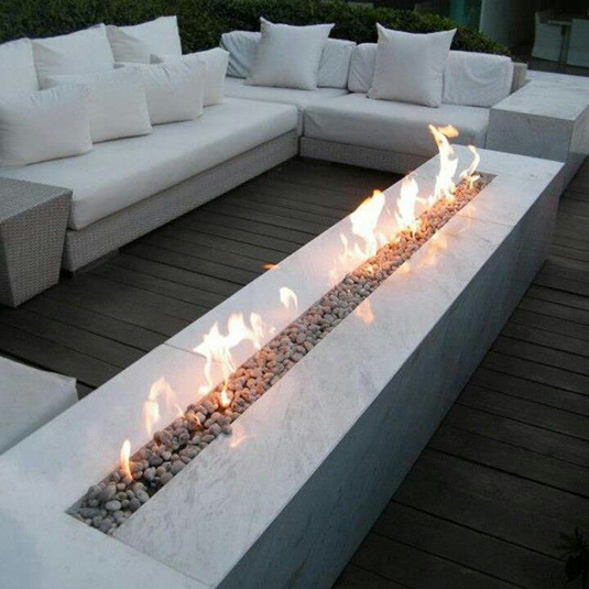 This beautiful fire feature is a great centerpiece for any backyard room.  In fact, this decorative fire pit adds warmth to your backyard room both literally and figuratively.  Image as seen on ebay.com