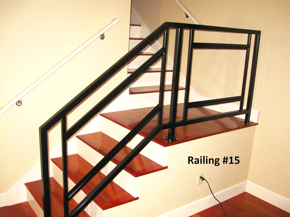 square material railing with glass inserts
