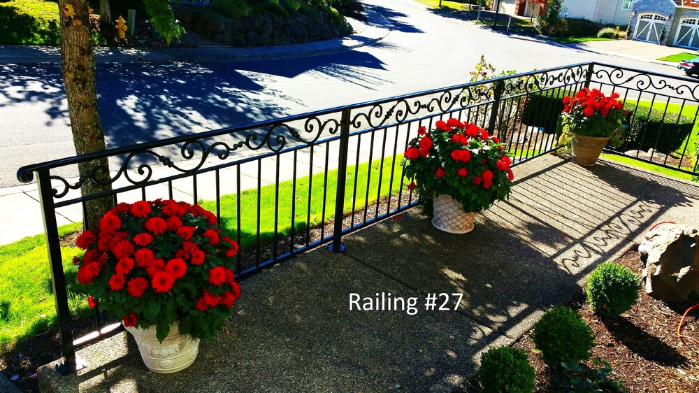 railing with tubular molded cap and roses casting on top row