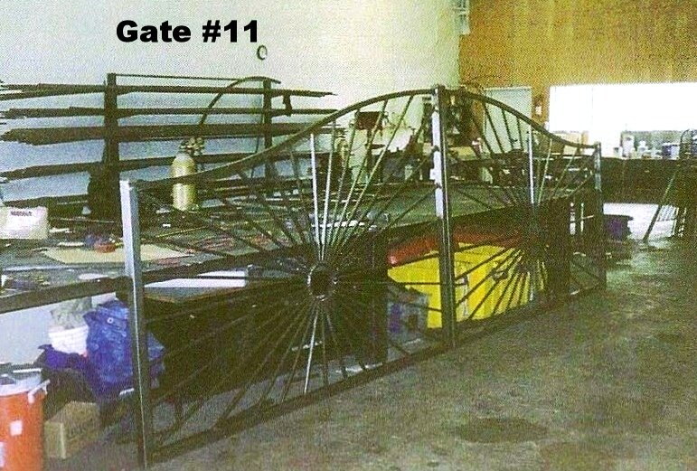 sunset gate with sun design and arches no vertical pickets