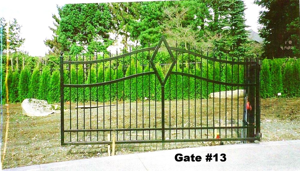single swing driveway gate with diamond and arches