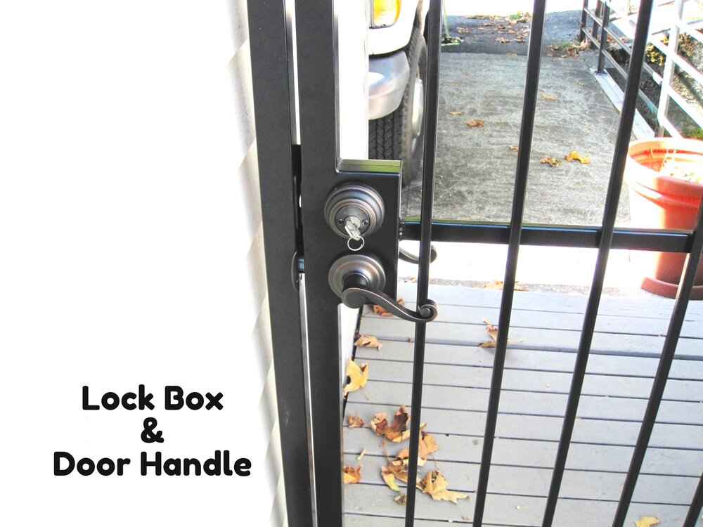 steel lock box with door lever and lock welded to gate