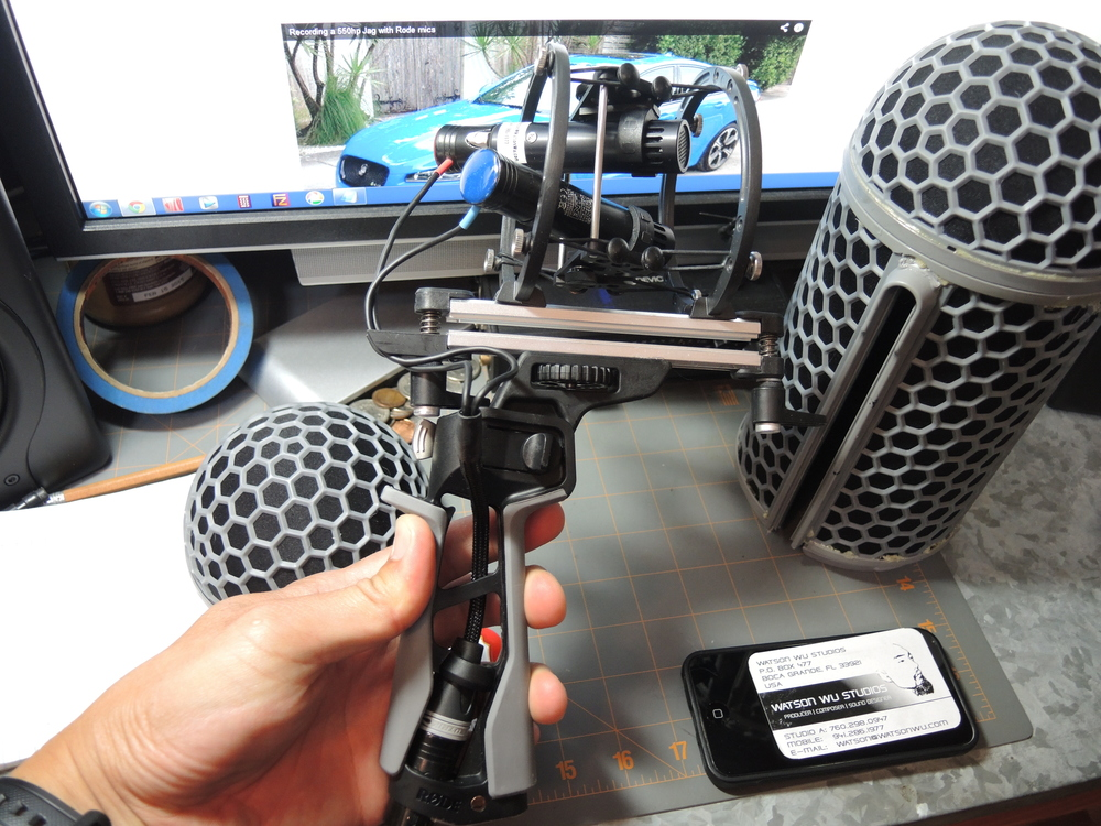 Inside this stereo configuration is a Rycote Stereo X/Y Mount Cage with Line Audio CM3 mics. The Y cable is a blessing as I can fold And unfold the grip!