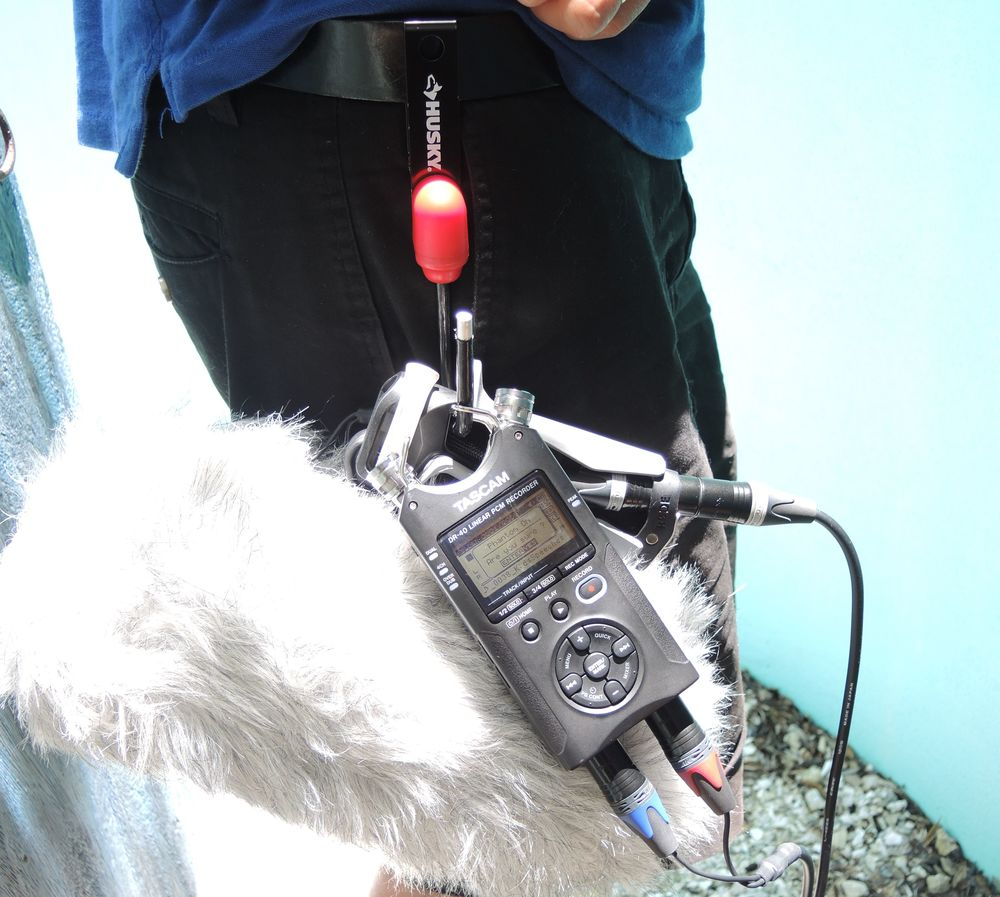 Rode Mini-Me Blimp & Tascam DR-40 recorder hanging on the Husky hook. See, I can walk around with my Hands free! :-)   -Watson