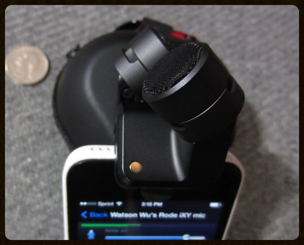 new  RØDE  iXY Stereo Mic attached to an iPhone 5c