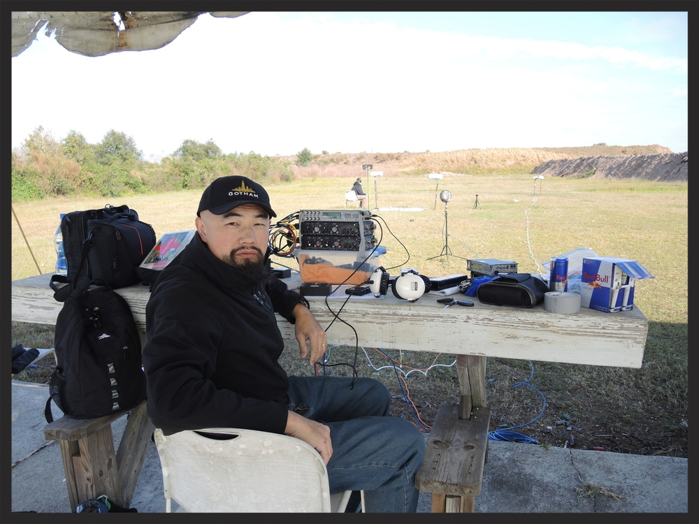 Watson Wu field recording firearms with multiple microphone perspectives. He uses Sound Devices field mixers and field recorders to capture the super loud gun shot sounds. The recording session was at a top secret location in Florida, USA.