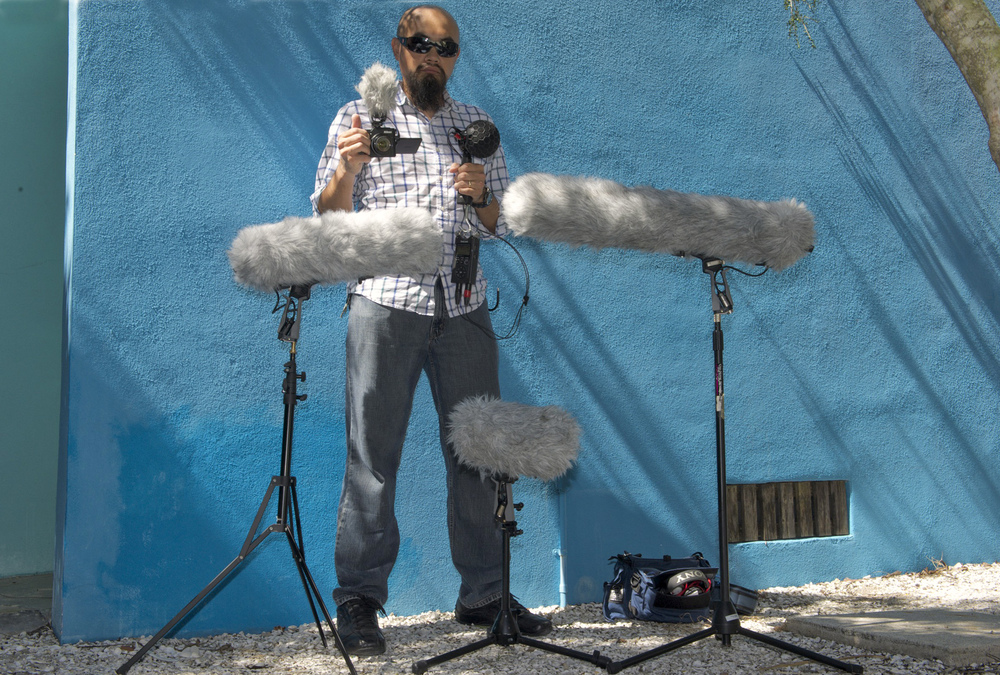 By demand, some people wanted to see a picture displaying some of the field recording gear I often use. Death Star Me (Stereo Videmic X mic) is above my left hand, Micro-Me (Stereo VideoMic Pro mic) is above my right hand, Mini-Me (NT5 mic) is at my left knee, Me (NTG3 mic) is on my right side, and Mega Me (NTG8 mic) at my left side.  Below the Mega Blimp is a PortaBrace bag housing a Sound Devices 744T field recorder, a Sound Devices MixPre-D field mixer, and a Sony MDR-V55 headphones. The recorder hanging below the Death Star is a Tascam DR-40 handheld recorder.