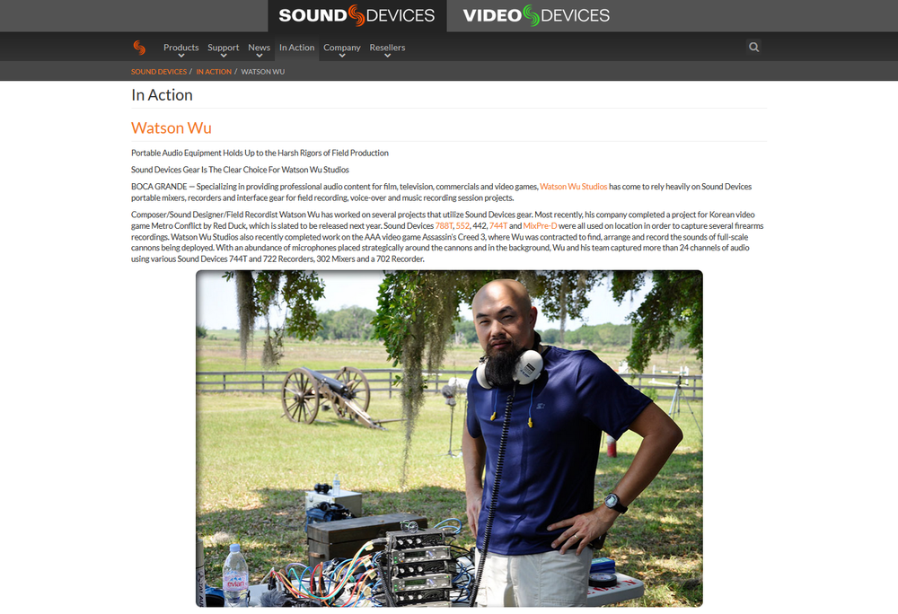 "SoundDevices.com's new ""  In Action  "" page!"