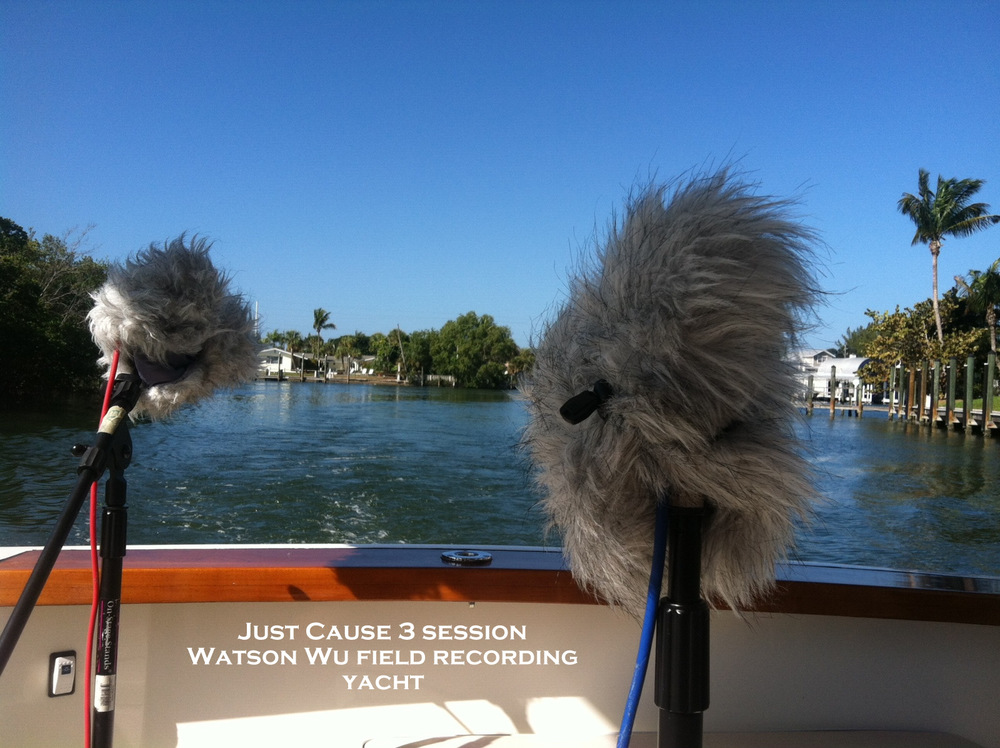 Field recording a large yacht. A total of 7 mics were used to capture sounds from the engine room etc areas. These rear mics were used to capture water churning sounds.