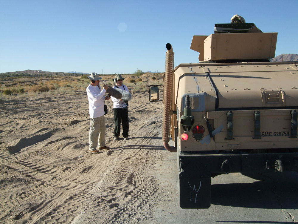 Aaron Marks and Nathan Smith recording humvee passby sounds. That was FAST!!