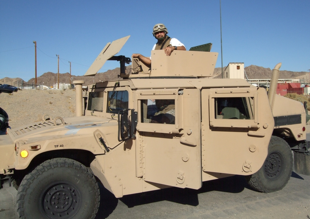 Us field recording a humvee