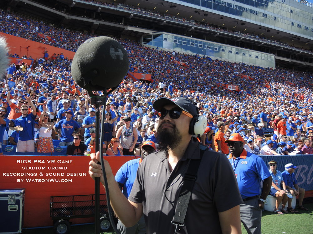 USING A HOLOPHONE 5.1 SURROUND SOUND MICROPHONE (AND OTHER MICS) CONNECTED TO A SOUND DEVICES 788T-SSD 8 TRACK FIELD RECORDER.  THERE WERE OVER 90,000 FANS IN THE STADIUM!