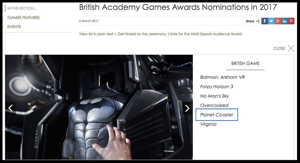 PLANET COASTER - BAFTA NOMINATION FOR BEST BRITISH GAME