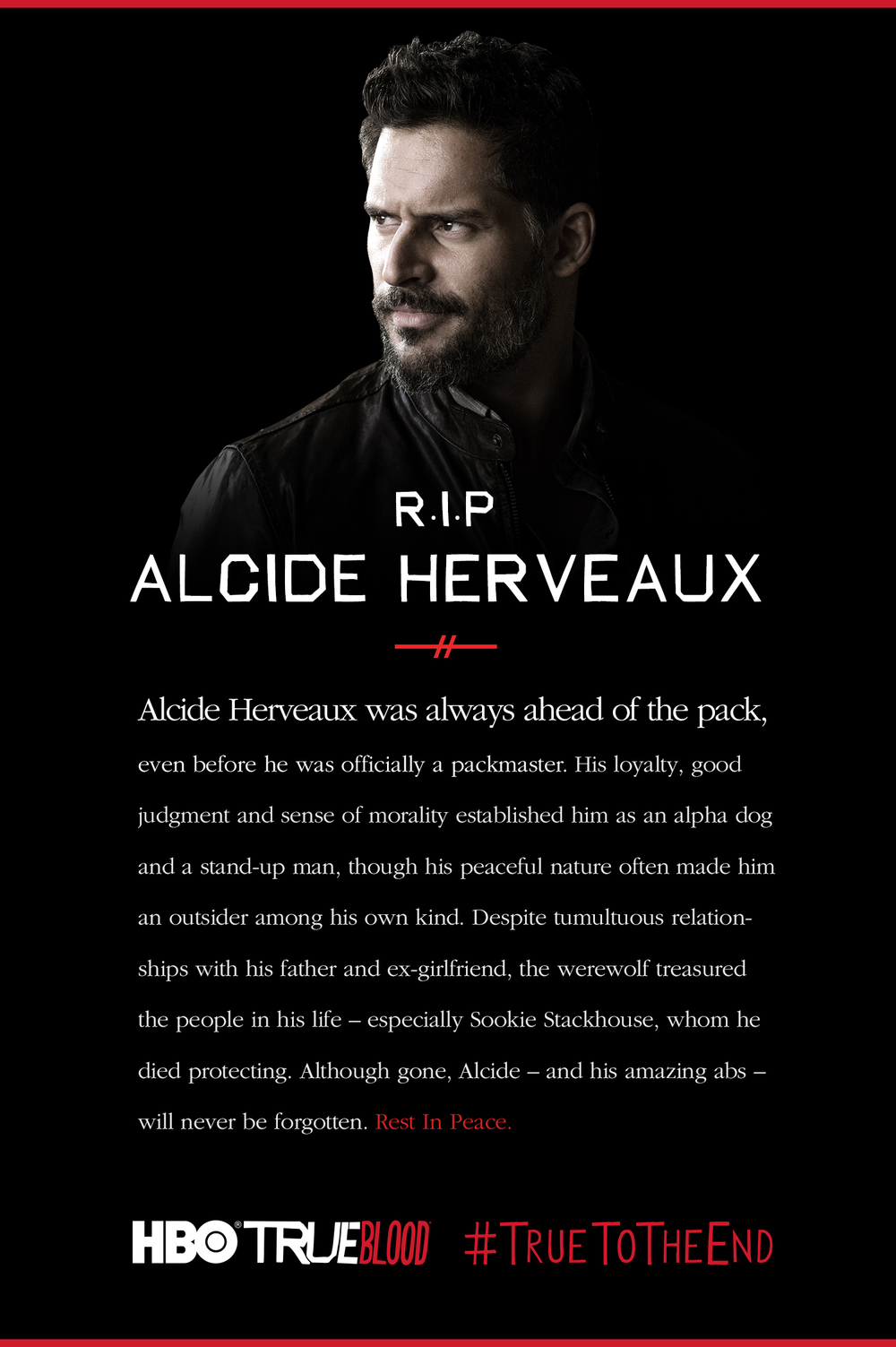 "Alcide Herveaux, as played by Joe Manganiello, met his death on ""Fire in the Hole,"" episode 3 of Season 7 of 'True Blood.'"