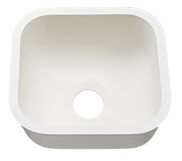 "Single SINK - 1517 W. 15 3/4""  X  L. 16 3/4""  X  D. 8""   Color:   Aric White"