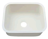 "Single SINK - 2318 W. 22 7/8""  X  L. 17 7/8""  X  D. 9"" Color: Aric White"
