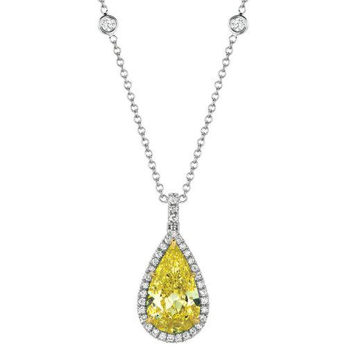 Vj029 pear shape yellow diamond pendant natural color diamond vj029 pear shape yellow diamond pendant mozeypictures Images