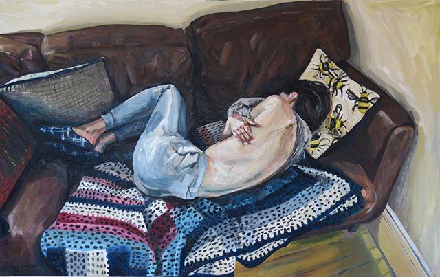 'Girl on sofa' oil on canvas 2019, w158 x h100cm