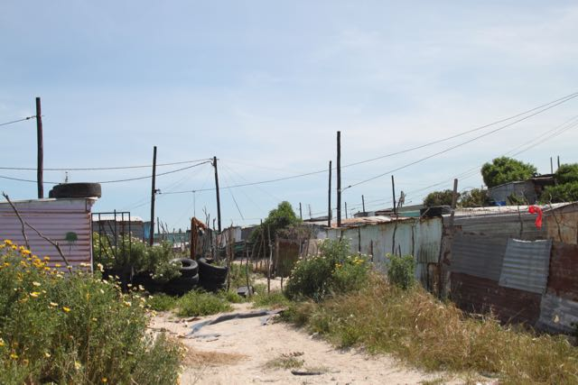 A typical street and dwellings in Khayelitsha township in Cape Town, South Africa.