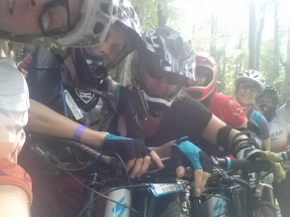 Ladies on trail at the 2015 Thunder Mountain Women's DH Weekend